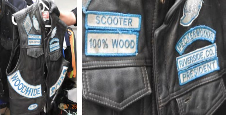 """a leather vest, known as a """"cut,"""" also seized from Moncrief's residence. The cut includes a patch with Moncrief's moniker, a """"president"""" patch, and a """"Woodsside"""" patch, utilizing Nazi SS Bolts."""