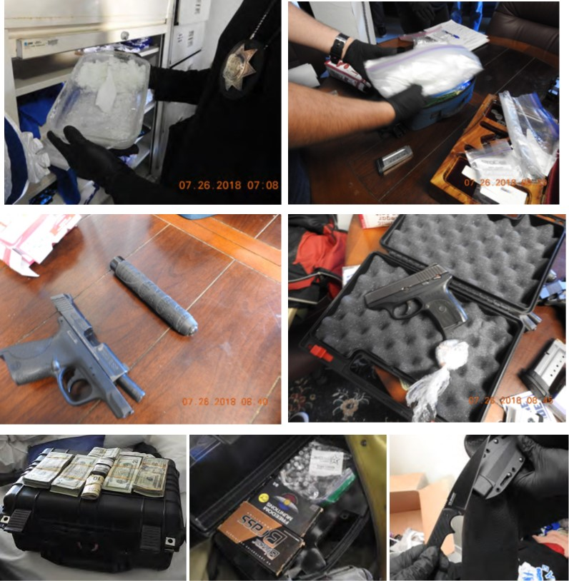 Methamphetamine, firearms, cash, ammunition, and a knife found during a court-authorized search of Moncrief's residence.