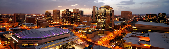 Ariel image of downtown phoenix at dusk