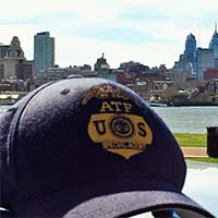 ATF hat with Philly Skyline and the Delaware river