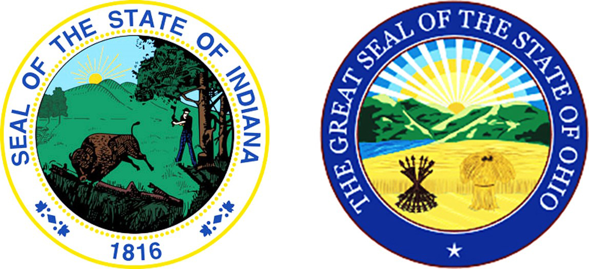 State Seals of Indiana, and Ohio