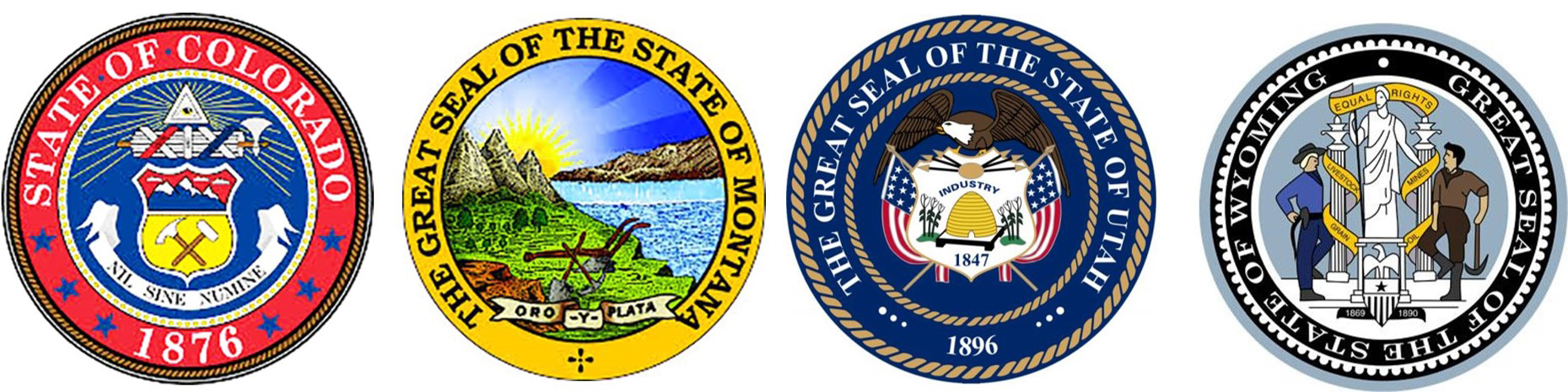 State Seals of Colorado, Montana, Utah and Wyoming