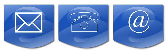 Image of mail, telephone and email icons