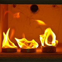 Image of a chemical fire being tested in a lab