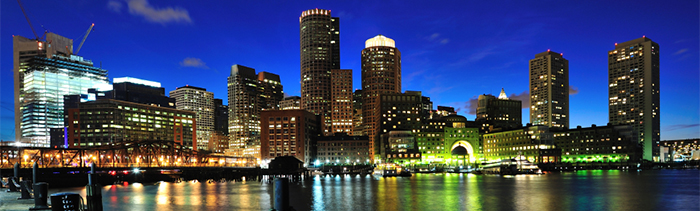 Image of Boston's skyline at night