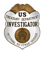 Picture of US Treasury Department IRS Investigator badge