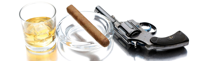 Image of hard liquor, a cigar and a firearm.