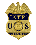 Image of the Department of Justice, Bureau of Alcohol, Tobacco and Firearms badge