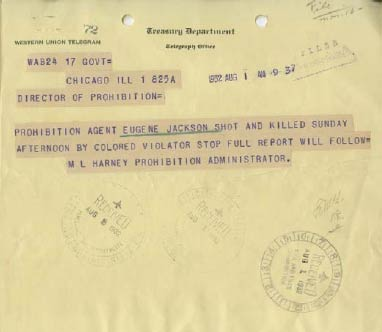 Picture of Western Union Telegram announcing the death of Prohibition Agent Eugene Jackson