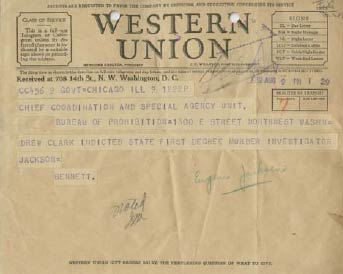 Image of Western Union Telegram announcing the indictment of Drew Clark