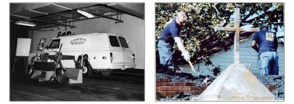 Two images. The image on the left is an ATFD van on scene at a arson with investigation tools next to it.  The image on the right is two ATFD agents digging through the rubble of a burt down church
