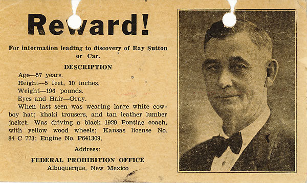 Image of a reward poster for information leading to the discovery of Ray Sutton.