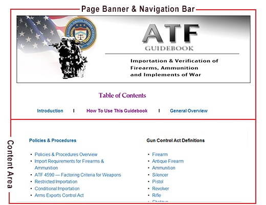 Image of the page banner, navigation bar, and content area providing explanation on how to use the guide.