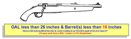 Image of a rifle with modified barrel(s) less than 16 inches and a modified stock making the firearm's overall length less than 26 inches