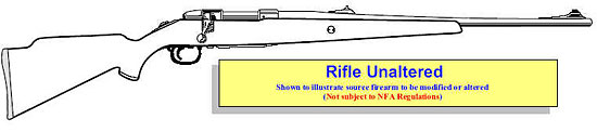 Image of an unaltered rifle as the source firearm before modificatin or alterations.