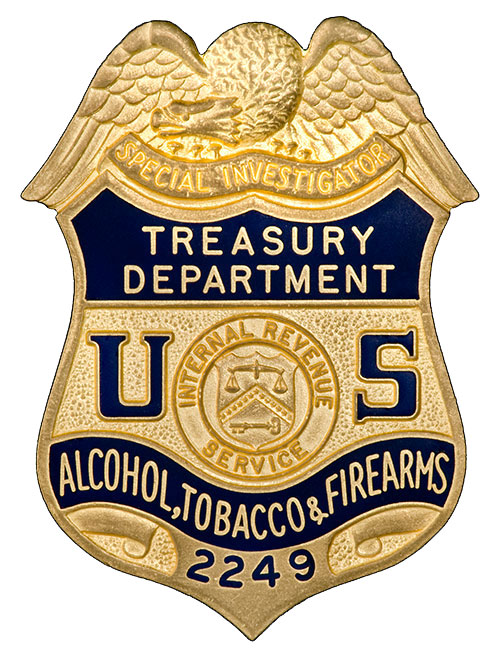Image of the badge for the Alcohol, Tobacco and Firearms Division, Internal Revenue Service, U.S. Department of the Treasury 1968-1971
