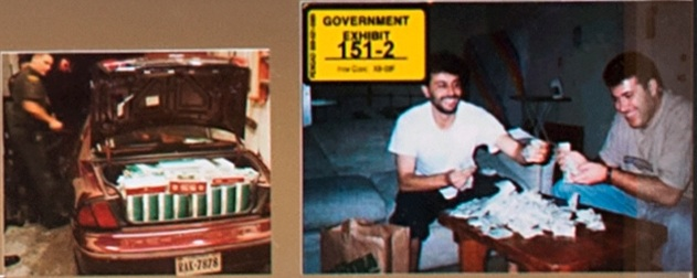 Two images.  The left image is of law enforcement searching a car with the trunk open full of cigarette cartons.  The right image is a government trial exhibit of two men sitting in front of a table with a pile of cash on top of it.