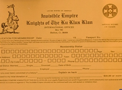 Image of Invisible Empire Knights of the Ku Klux Klan application.