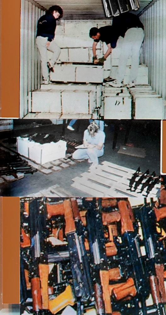 Picture of three ATF agents confiscating firearms in shipping crates (top). ATF inspector taking inventory of captured guns (middle). Confiscated rifles piled together (bottom).