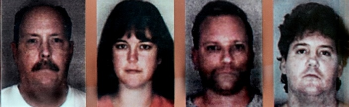 Image of four arrested perpetrators, Dr. Robert Goldstein (left), Kristi Goldstein (left middle), Dr. Michael Hardee (right middle), and Samuel Shannahan (right)
