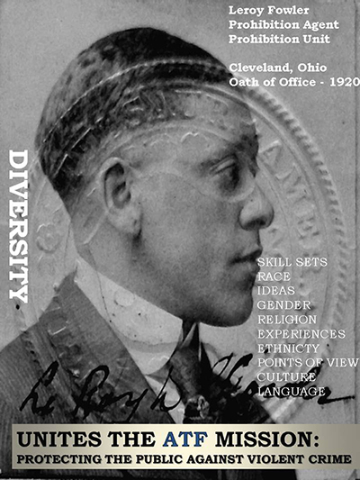 Image of Prohibition Agent Leroy Fowler.  He took the oath of office in 1920 and served in Cleveland, Ohio.