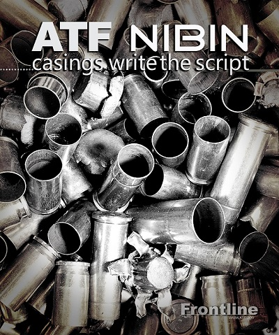 Image of bullets and bullet casings in a pile with the heading ATF NIBIN...casings write the script.  Bottom right corners has Frontline with the web address below it www.atf.gov
