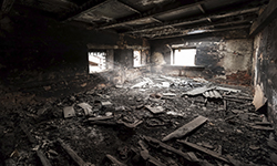 Image of an abandoned burnt building