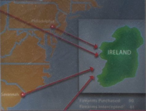 Image of the four U.S. states were Siobhan Brown conspired to illegally purchase over $100,000 in firearms and ammunition to ship back to Ireland (also pictured).
