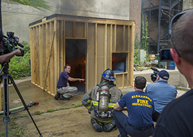 ATF CFI's demonstrate a compartment fire for members of the media.