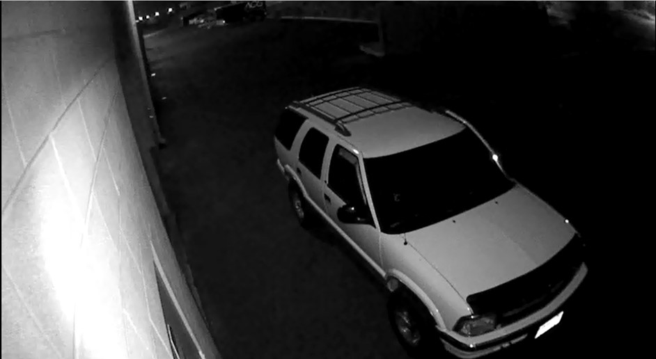 Photo from a surveillance camera showing the suspects SUV