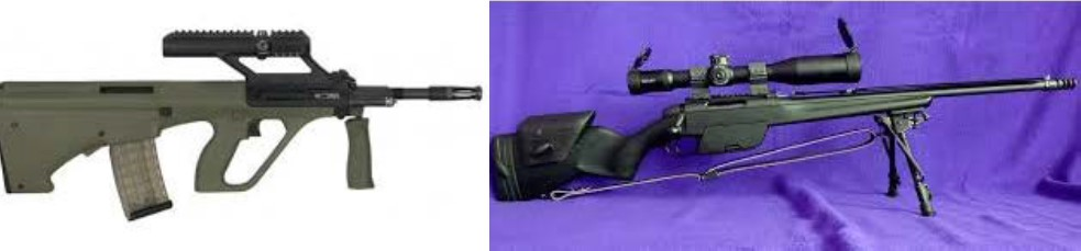 Image of a Steyr AUG rifle and a Steyr SSG-04 rifle which was stolen