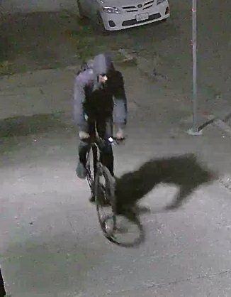 Surveillance video image capture of suspect at the time of the Emeryville fire.