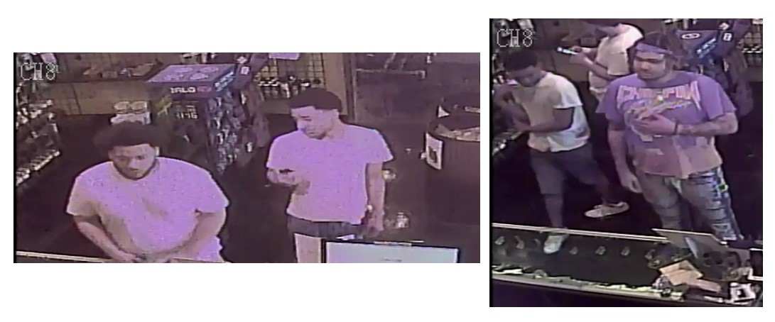 Video capture of suspects involved in the theft of firearms.