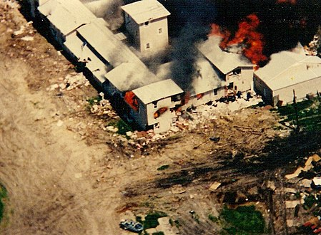 Aerial view of Mount Carmel compound on fire.