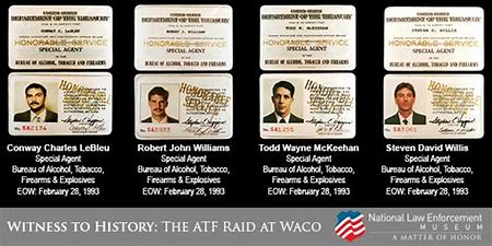 Federal credentials of Special Agents Conway LeBleu, Robert Williams, Todd McKeehan, and Steven Willis