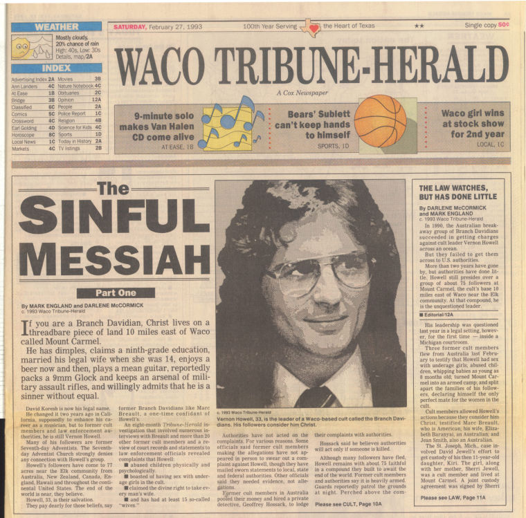 "Waco Tribune-Herald newspaper page featuring the story ""The Sinful Messiah"" part one."