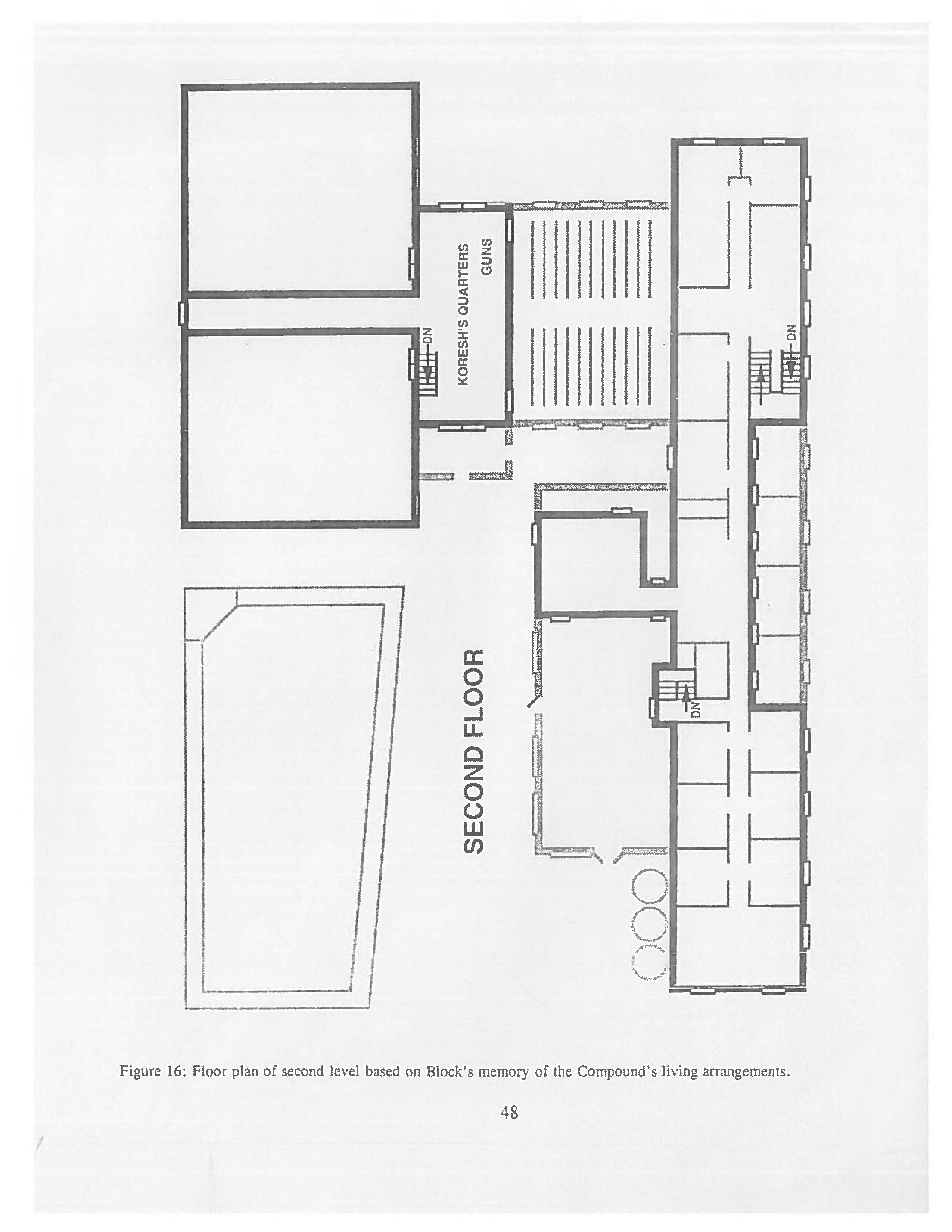 Mount Carmel floor plan of the second level.