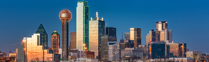 Image of dallas, texas skyline from a river