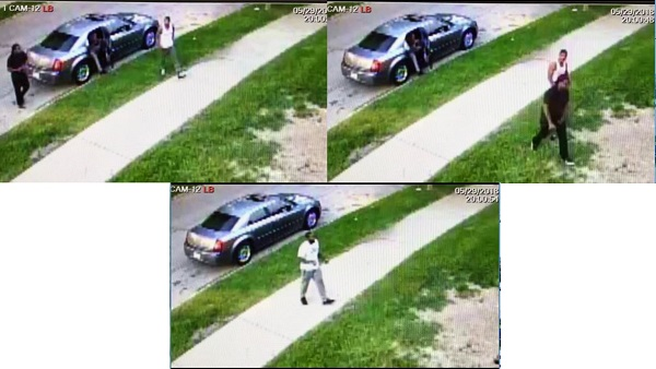 Image of the three suspects wanted for witness tampering. Three suspects; one in all black clothing and two in white t-shirts and pants, were seen exiting a sedan with dark windows.