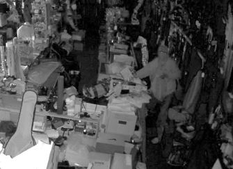 Still-frame photo of surveillance footage from inside the business captured the night of the Bay Area Pawn burglary on July 30, 2018, in Ashland.