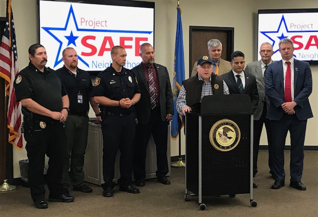 Law enforcement representatives at a press conference held in Rapid City