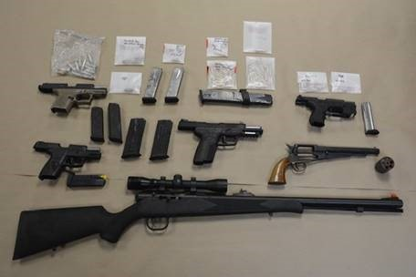 Seized guns, drugs and ammunition from investigation in Washington, DC.