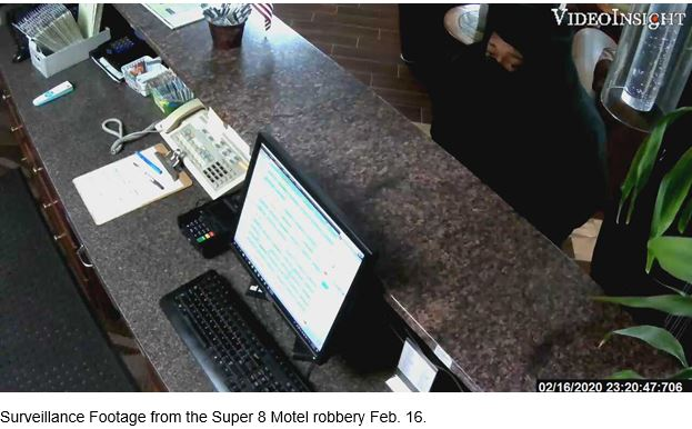 Surveillance Footage from the Super 8 Motel robbery Feb. 16, 2020