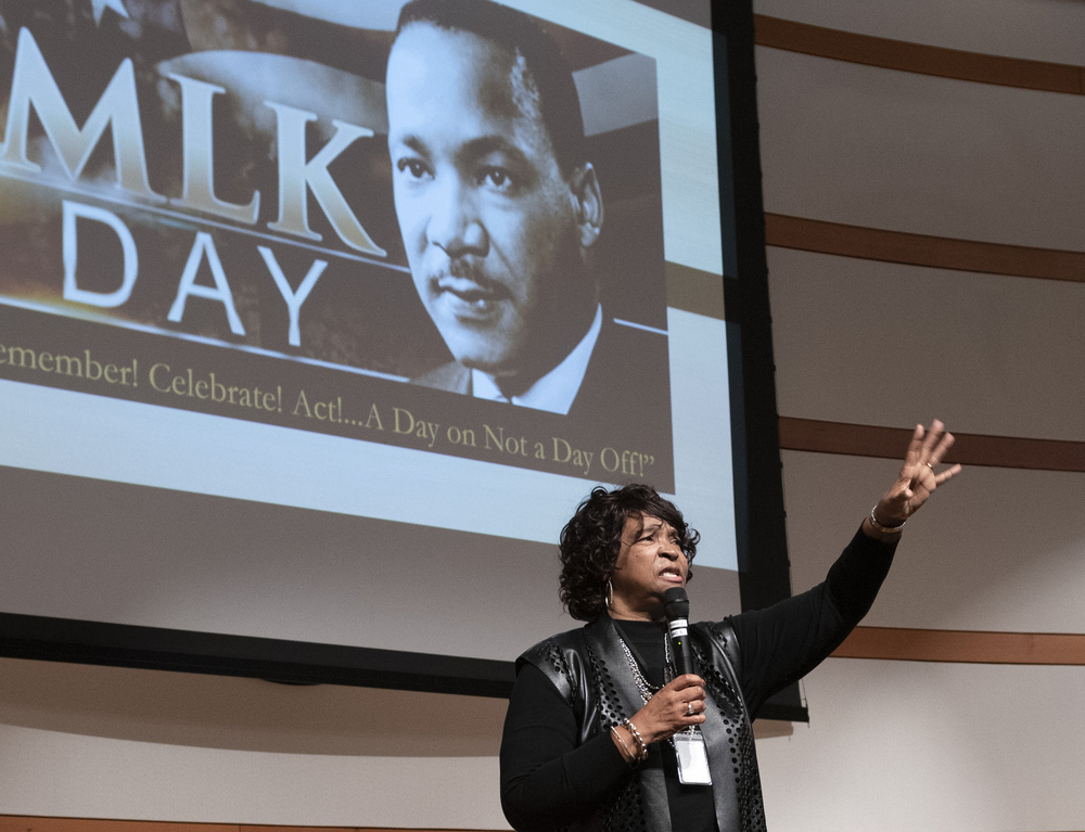 Dr. Lonise Bias speaks to ATF employees at the 2020 program for MLK Jr. Day