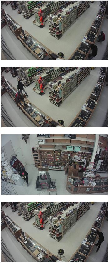 Images of still-frames of surveillance footage captured during the break-ins at Runnings on April 5 and 7.