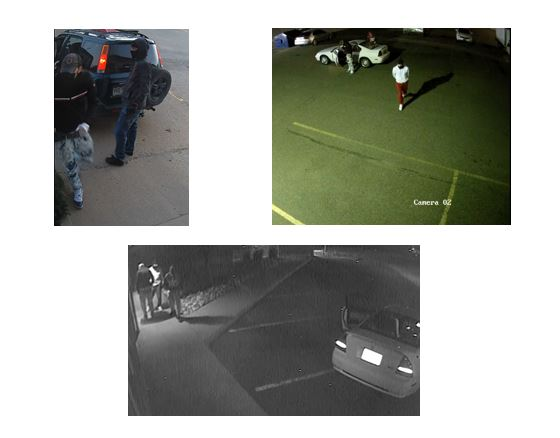 Surveilance camera images of 2 persons of interest with a white car.