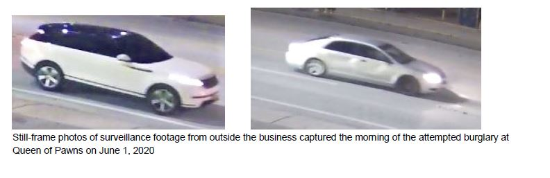 vehicle, queen of pawns, attempted burglary