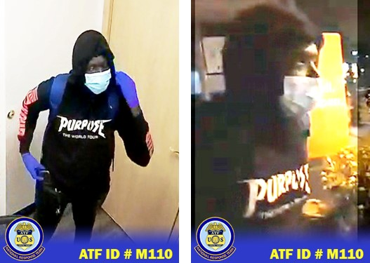 Suspect wearing black pants, black hoodie with Purpose The World Tour written on the front, wearing a face mask, wanted for the PMLS Chicago Lake Dental arson.