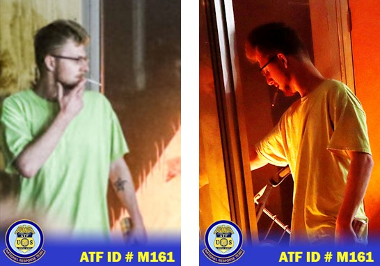 Male suspect, caucasian, tapered hair cut, wearing a neon green t-shirt, black eye glasses and star-like tattoo on the forearm/
