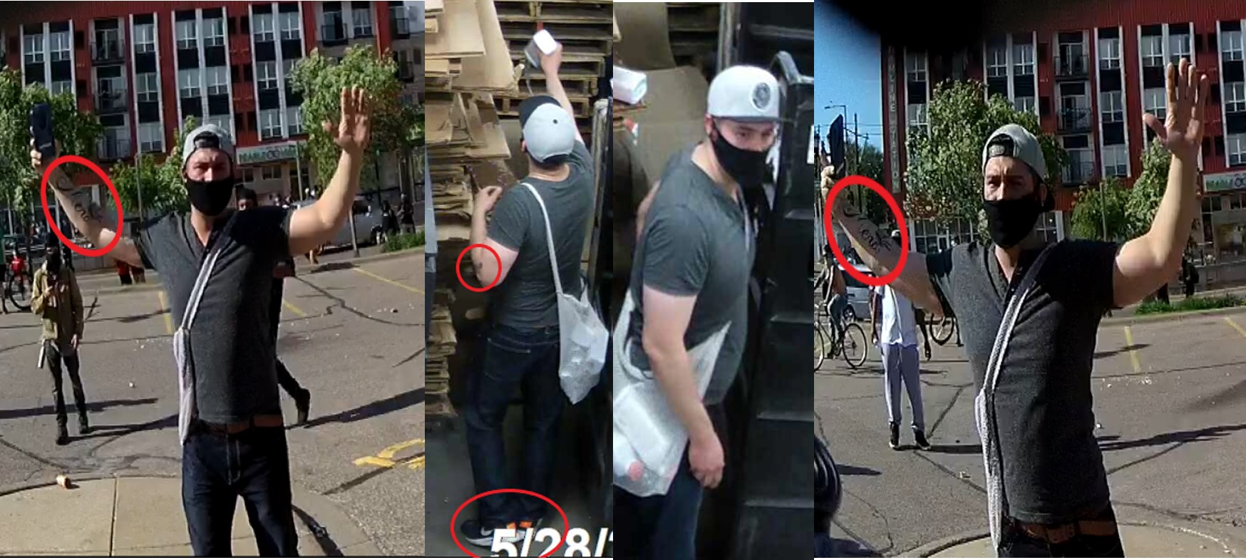 Suspected arsonist wearing a white cap, blue jeans, gray t-shirt, meidum build, birthmark on the back upper arm, tattoo on forearm, and a black face covering hanging off his face.